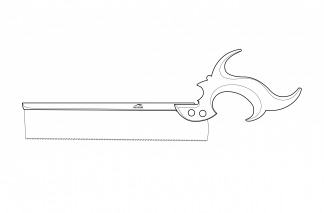 A technical drawing of the Greyhound Toolworks Dovetail Saw